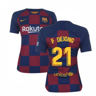 2019-2020 Barcelona Home Nike Ladies Shirt (F De Jong 21)