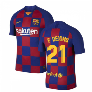 2019-2020 Barcelona Home Vapor Match Nike Shirt (Kids) (F De Jong 21)