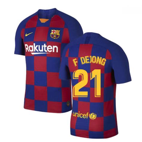 2019-2020 Barcelona Home Vapor Match Nike Shirt (Kids) (F De Jong 21)