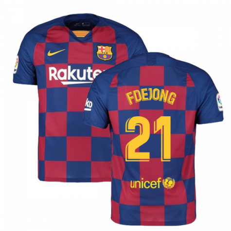 2019-2020 Barcelona Home Nike Football Shirt (F De Jong 21)