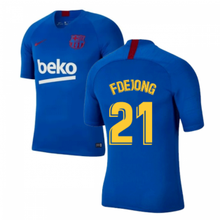 2019-2020 Barcelona Nike Training Shirt (Blue) - Kids (F De Jong 21)