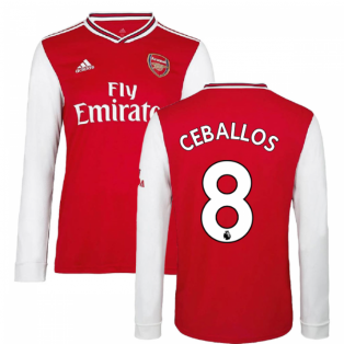 2019-2020 Arsenal Adidas Home Long Sleeve Shirt (Ceballos 8)