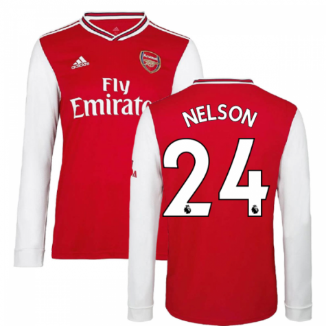 2019-2020 Arsenal Adidas Home Long Sleeve Shirt (Kids) (Nelson 24)
