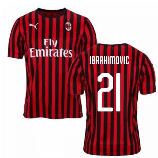 2019-2020 AC Milan Puma Home Football Shirt (Ibrahimovic 21)