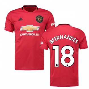2019-2020 Man Utd Adidas Home Football Shirt (B Fernandes 18)