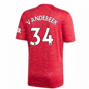 2020-2021 Man Utd Adidas Home Football Shirt (Kids) (VAN DE BEEK 34)