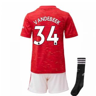 2020-2021 Man Utd Adidas Home Little Boys Mini Kit (VAN DE BEEK 34)