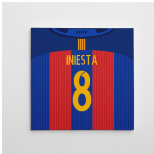 2016-2017 Barcelona Canvas Print (Iniesta 8)