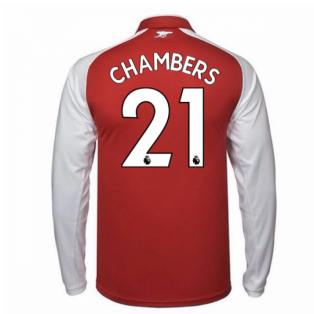 2017-18 Arsenal Home Long Sleeve Shirt - Kids (Chambers 21)