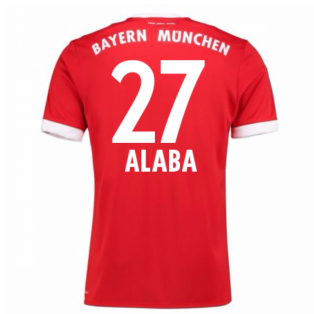 2017-18 Bayern Munich Home Short Sleeve Shirt (Alaba 27)
