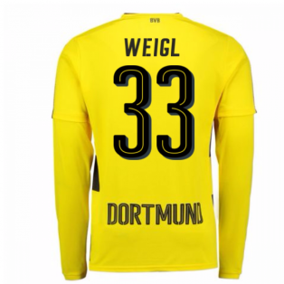 2017-18 Borussia Dortmund Long Sleeve Home Shirt (Weigl 33)