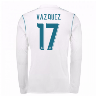 2017-18 Real Madrid Long Sleeve Home Shirt (Vazquez 17)