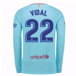 2017-2018 Barcelona Away Long Sleeve Shirt (Vidal 22)