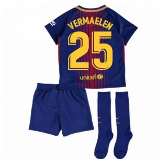 2017-2018 Barcelona Home Nike Little Boys Mini Kit (With Sponsor) (Vermaelen 25)