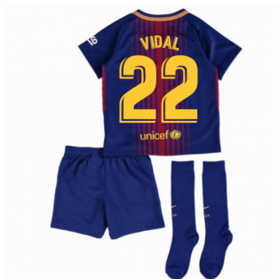 2017-2018 Barcelona Home Nike Little Boys Mini Kit (With Sponsor) (Vidal 22)
