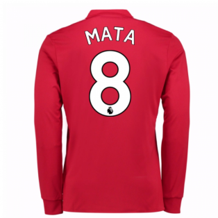2017-2018 Man United Long Sleeve Home Shirt (Mata 8)
