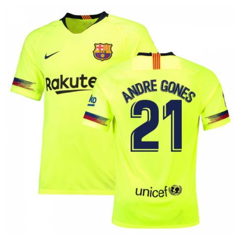 2018-19 Barcelona Away Shirt (Andre Gones 21) - Kids