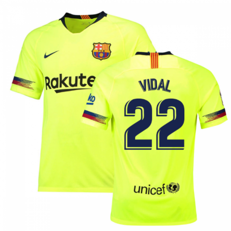 2018-19 Barcelona Away Shirt (Vidal 22) - Kids