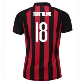 2018-2019 AC Milan Puma Home Football Shirt (Montolivo 18) - Kids