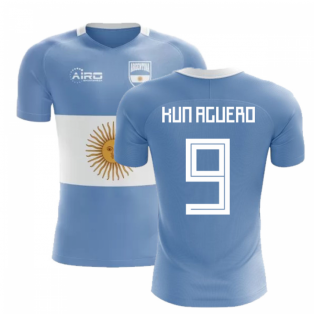 2018-2019 Argentina Flag Concept Football Shirt (Kun Aguero 9)