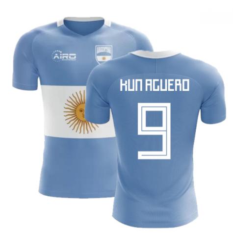 2018-2019 Argentina Flag Concept Football Shirt (Kun Aguero 9) - Kids 5e04e8867