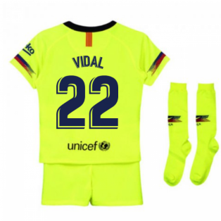 2018-2019 Barcelona Away Nike Little Boys Mini Kit (Vidal 22)