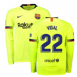 2018-2019 Barcelona Away Nike Long Sleeve Shirt (Vidal 22)