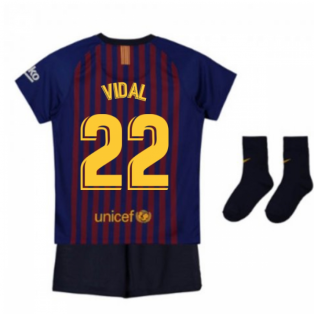 2018-2019 Barcelona Home Nike Baby Kit (Vidal 22)