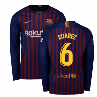 2018-2019 Barcelona Home Nike Long Sleeve Shirt (Suarez 6)