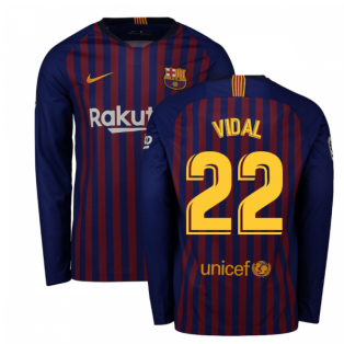2018-2019 Barcelona Home Nike Long Sleeve Shirt (Vidal 22)