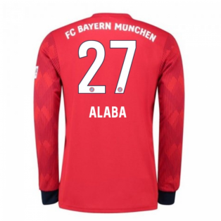 2018-2019 Bayern Munich Adidas Home Long Sleeve Shirt (Alaba 27) - Kids