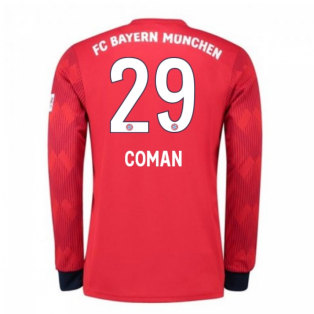 2018-2019 Bayern Munich Adidas Home Long Sleeve Shirt (Coman 29) - Kids