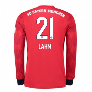 2018-2019 Bayern Munich Adidas Home Long Sleeve Shirt (Lahm 21) - Kids
