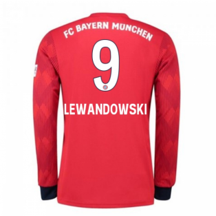 2018-2019 Bayern Munich Adidas Home Long Sleeve Shirt (Lewandowski 9)