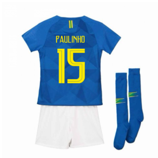 2018-2019 Brazil Away Nike Little Boys Mini Kit (Paulinho 15)