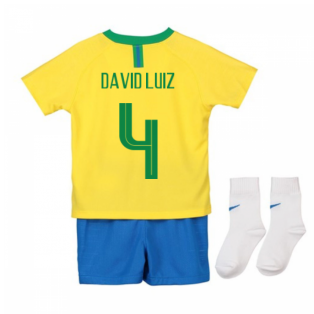 2018-2019 Brazil Home Nike Baby Kit (David Luiz 4)