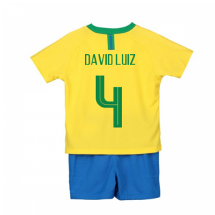 2018-2019 Brazil Home Nike Little Boys Mini Kit (David Luiz 4)
