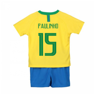 2018-2019 Brazil Home Nike Little Boys Mini Kit (Paulinho 15)