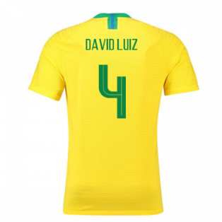 2018-2019 Brazil Home Nike Vapor Match Shirt (David Luiz 4)