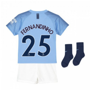 2018-2019 Man City Home Nike Little Boys Mini Kit (Fernandinho 25)