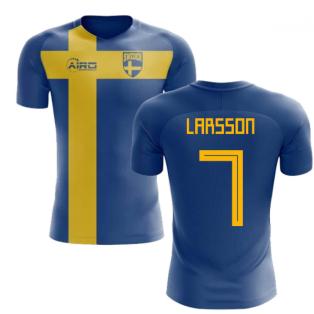 2018-2019 Sweden Flag Concept Football Shirt (Larsson 7) - Kids