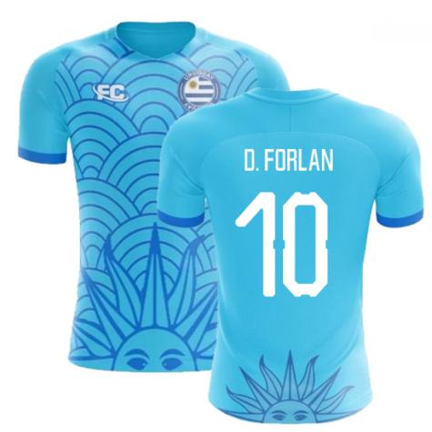2018-2019 Uruguay Fans Culture Concept Home Shirt (D. Forlan 10) - Womens