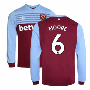 2019-20 West Ham Home Long Sleeve Shirt (MOORE 6)
