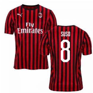2019-2020 AC Milan Puma Authentic Home Football Shirt (SUSO 8)