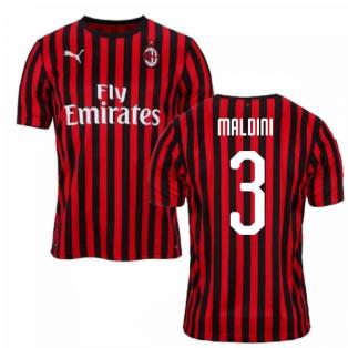 2019-2020 AC Milan Puma Home Football Shirt (MALDINI 3)