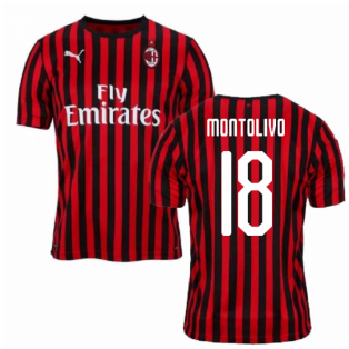2019-2020 AC Milan Puma Home Football Shirt (MONTOLIVO 18)