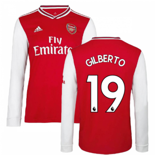 2019-2020 Arsenal Adidas Home Long Sleeve Shirt (GILBERTO 19)