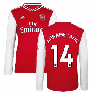 2019-2020 Arsenal Adidas Home Long Sleeve Shirt (Kids) (AUBAMEYANG 14)
