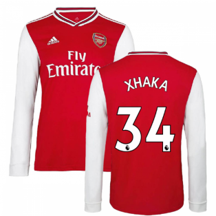 2019-2020 Arsenal Adidas Home Long Sleeve Shirt (Kids) (XHAKA 34)