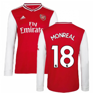 2019-2020 Arsenal Adidas Home Long Sleeve Shirt (MONREAL 18)